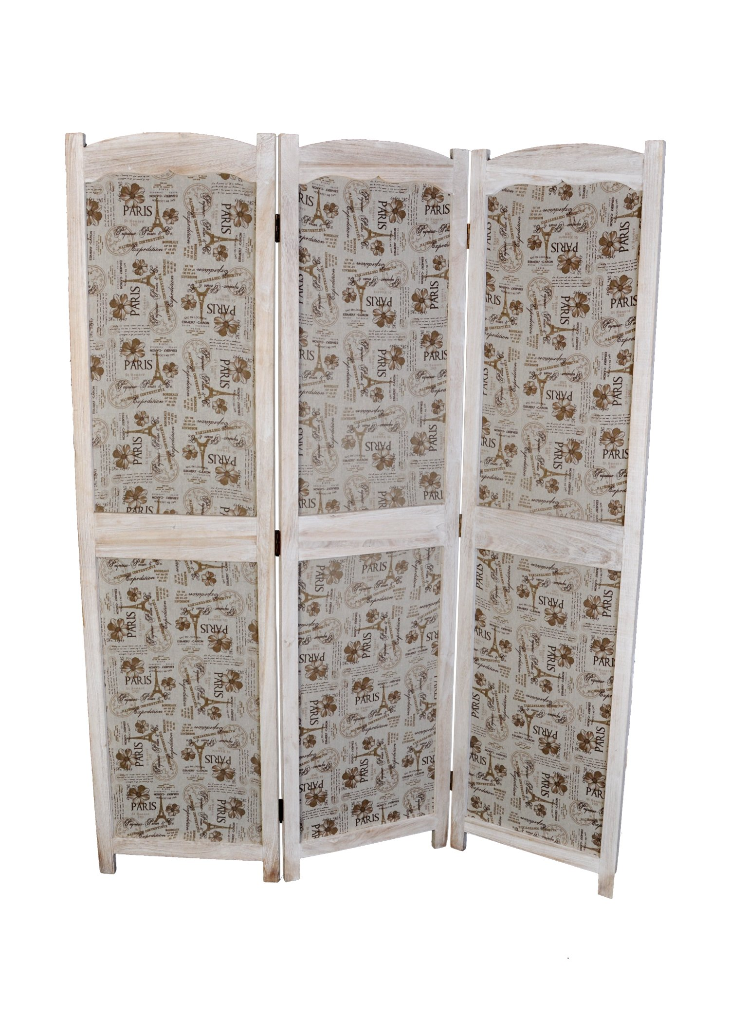 3 Panel Screen Room Divider, White Color Solid Wood with Paris Themed Canvas, by Legacy Decor