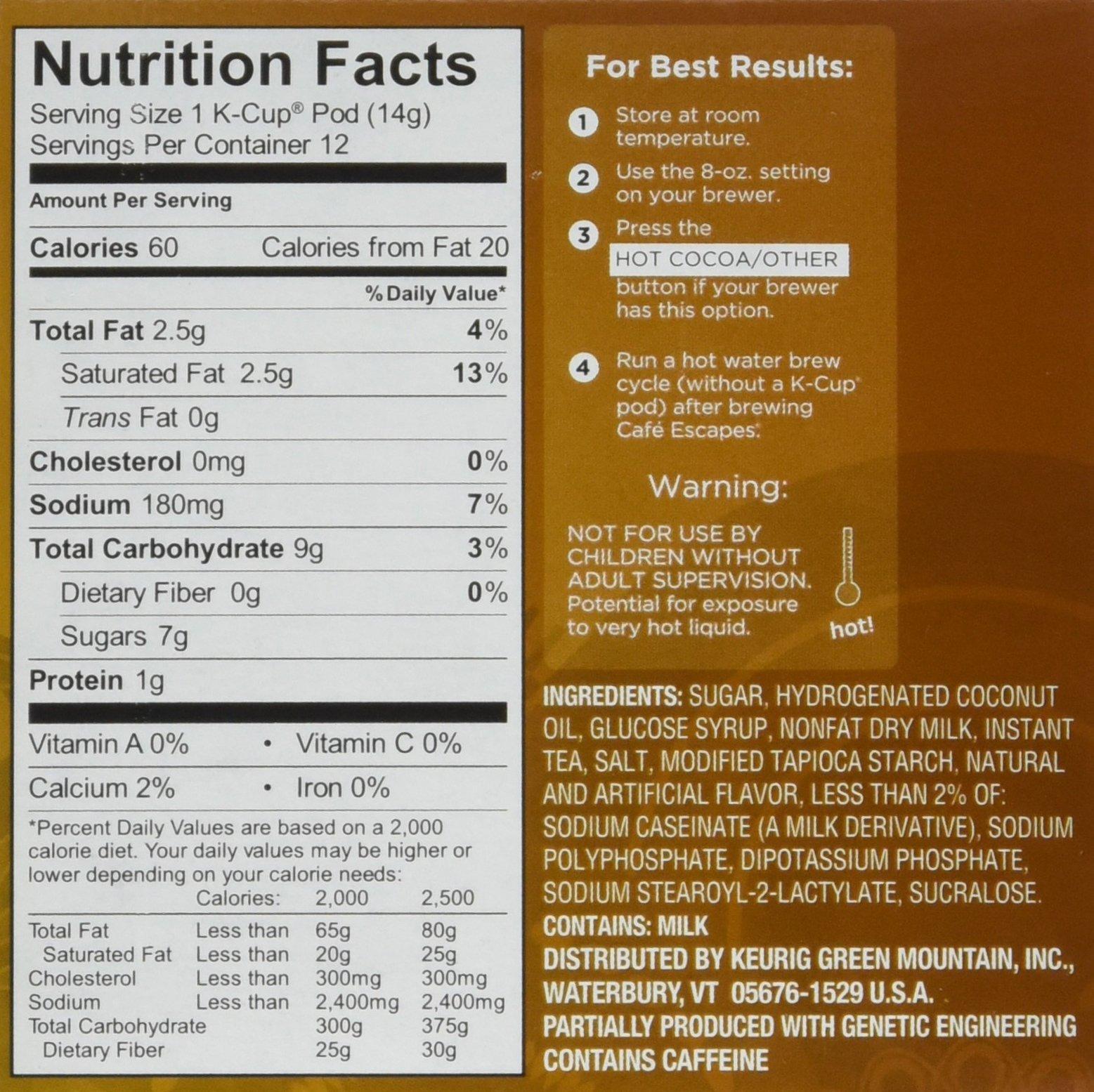 Keurig Chai Tea Latte Nutrition Facts