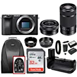 Sony a6500 Mirrorless Camera with SELP1650 and SEL55210B Lens Accesory Bundle