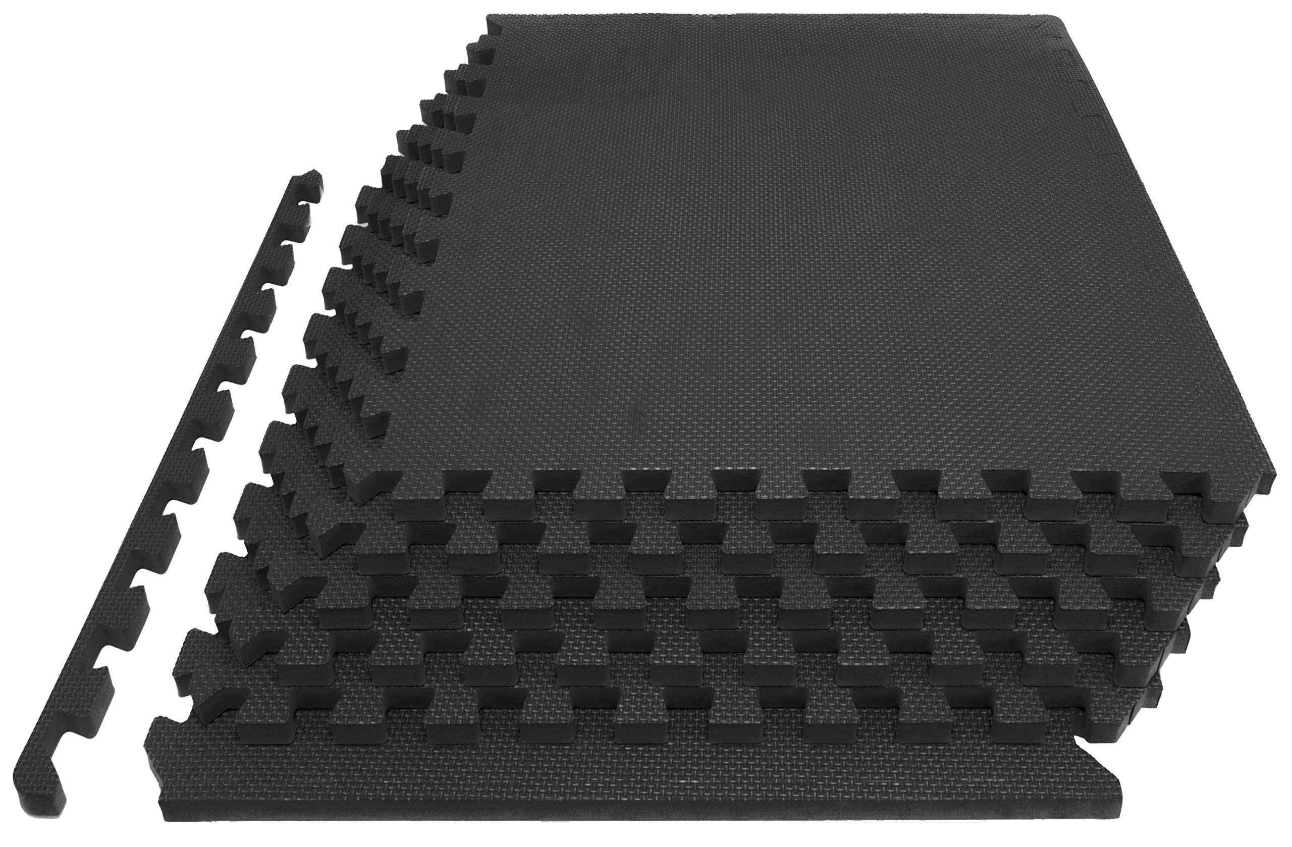 Prosource Fit Extra Thick Puzzle Exercise Mat 1'', EVA Foam Interlocking Tiles for Protective, Cushioned Workout Flooring for Home and Gym Equipment, Black
