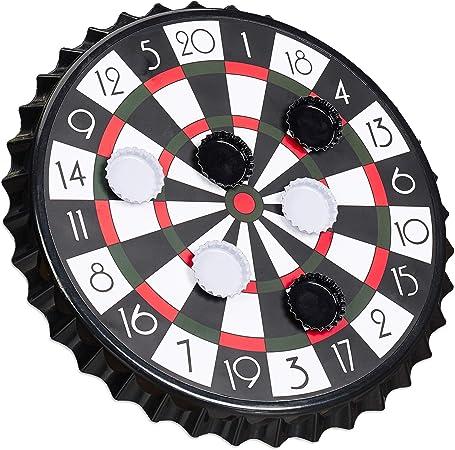Relaxdays Diana Magnética para Chapas de Cerveza, Juego para Beber Alcohol, Plástico y Metal, 1 Ud, Ø 25 cm, Negro, Color (10023506): Amazon.es: Juguetes y juegos