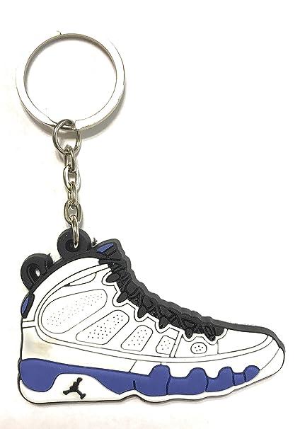 Zapatos Sneaker llavero aj-9 Retro, Blanco/Azul: Amazon.es ...