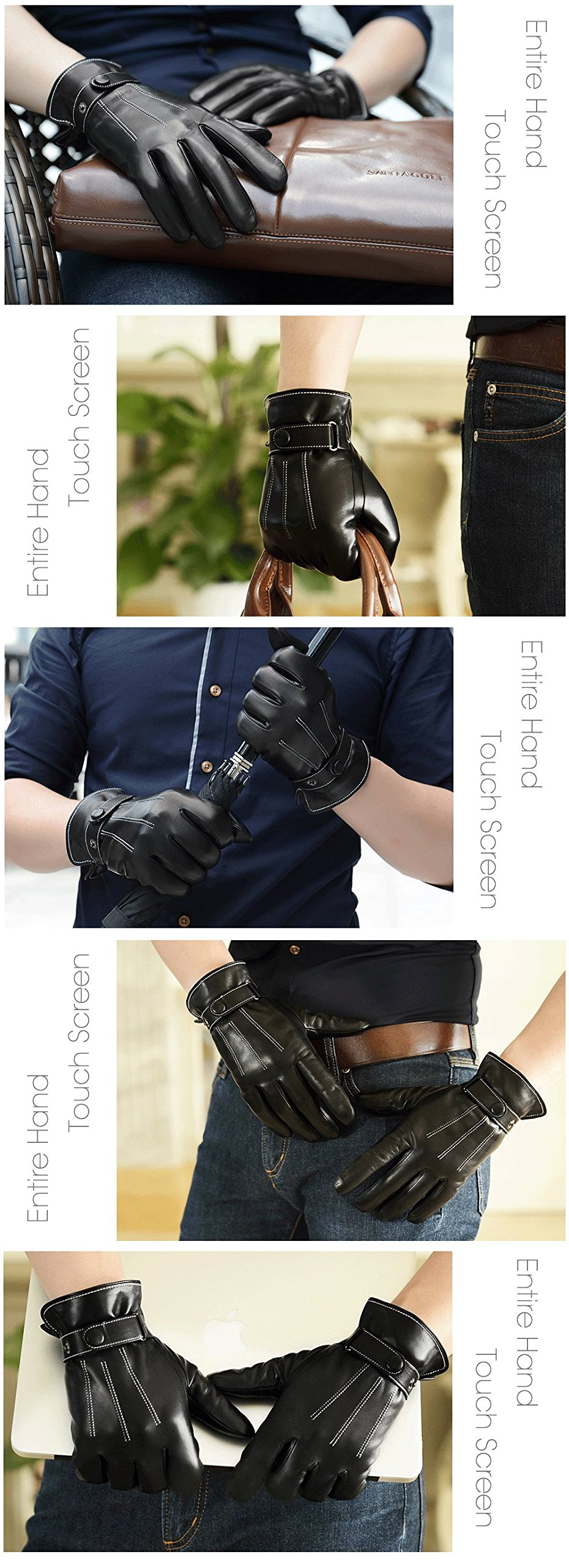 Harrms Best Luxury Touchscreen Italian Nappa Leather Gloves for men's Texting Driving (XL-9.4''(US Standard Size), BLACK) by Harrms (Image #5)