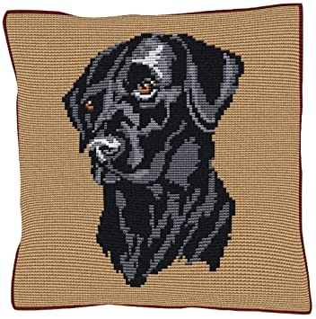 Amazon.com: Brigantia Needlework Labrador Negro bordado para ...