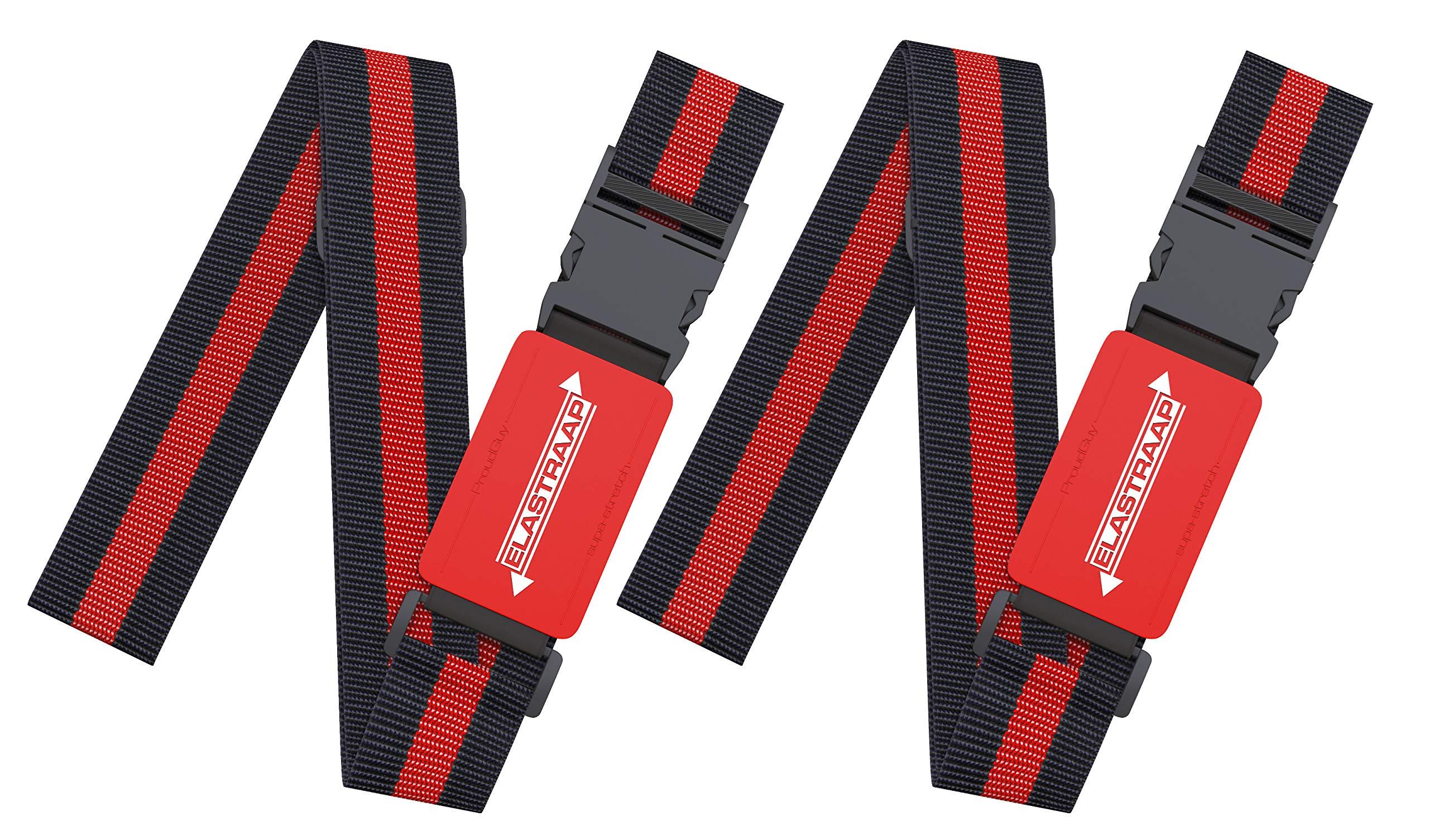 Luggage Straps, Adjustable Non-Slip Baggage Belts- Suitcase Bands For Travel Bag (2 Straps, Red Stripe 2pk)