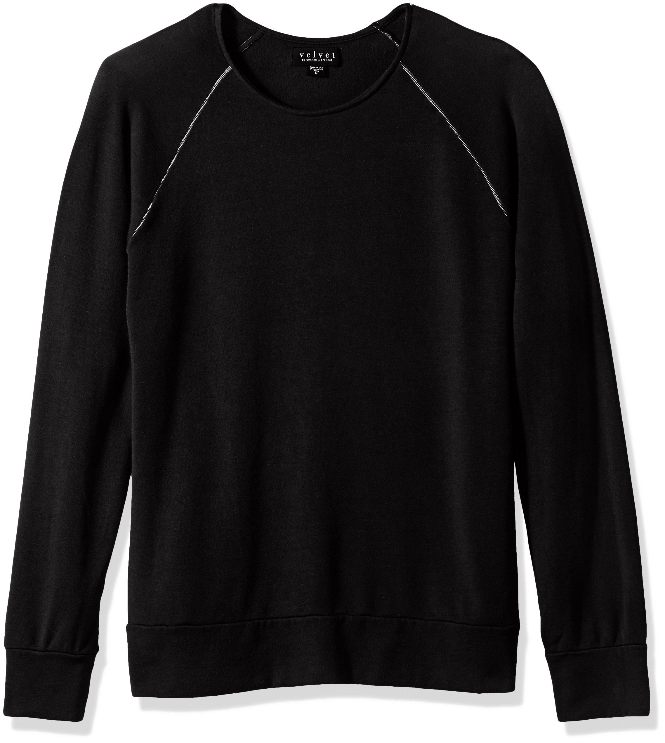 Velvet by Graham & Spencer Men's Ovid Raglan Sweatshirt In Luxe Fleece Fabric, Black, Small