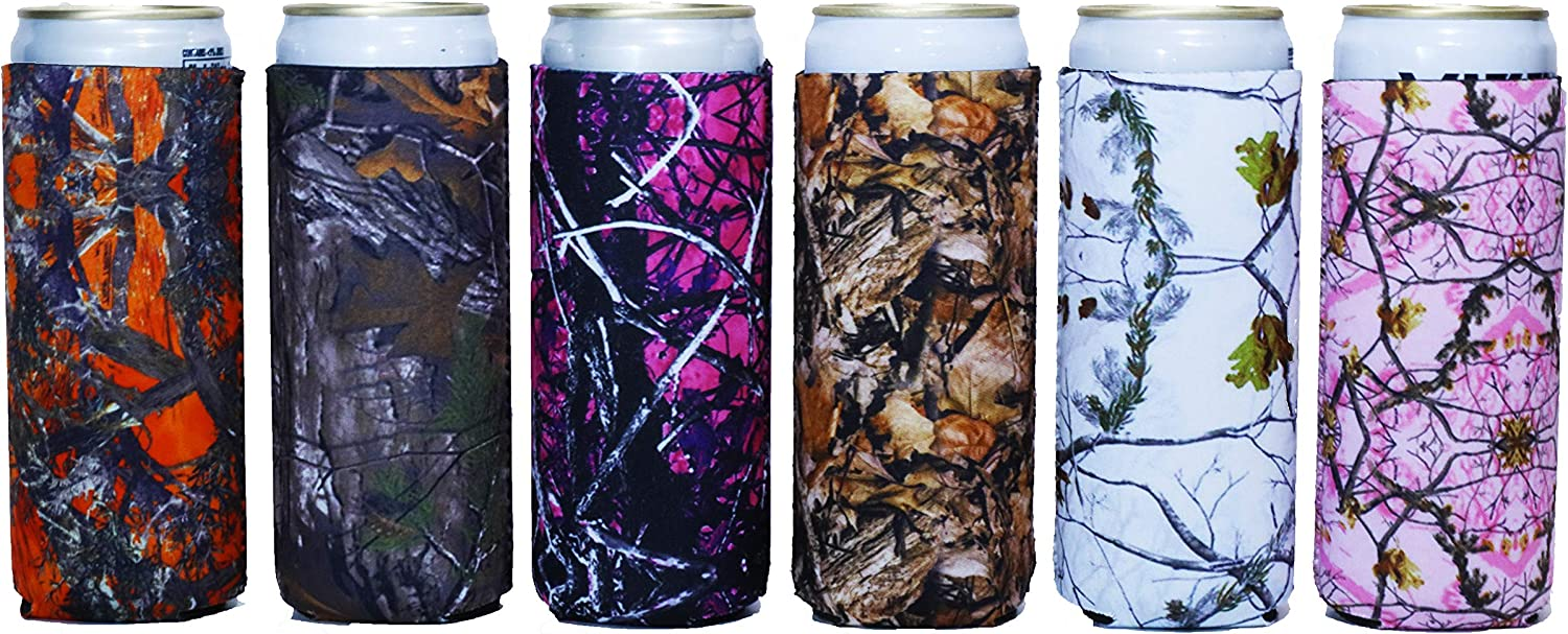 Baxendale's Slim Can Coolie Sleeve Cute Camo Design 6 Pack Tall Skinny Neoprene Can Cooler Insulator- Perfect for 12 Ounce Drinks Like White Claw, Truly, Red Bull, Spiked Seltzer, Michelob Ultra
