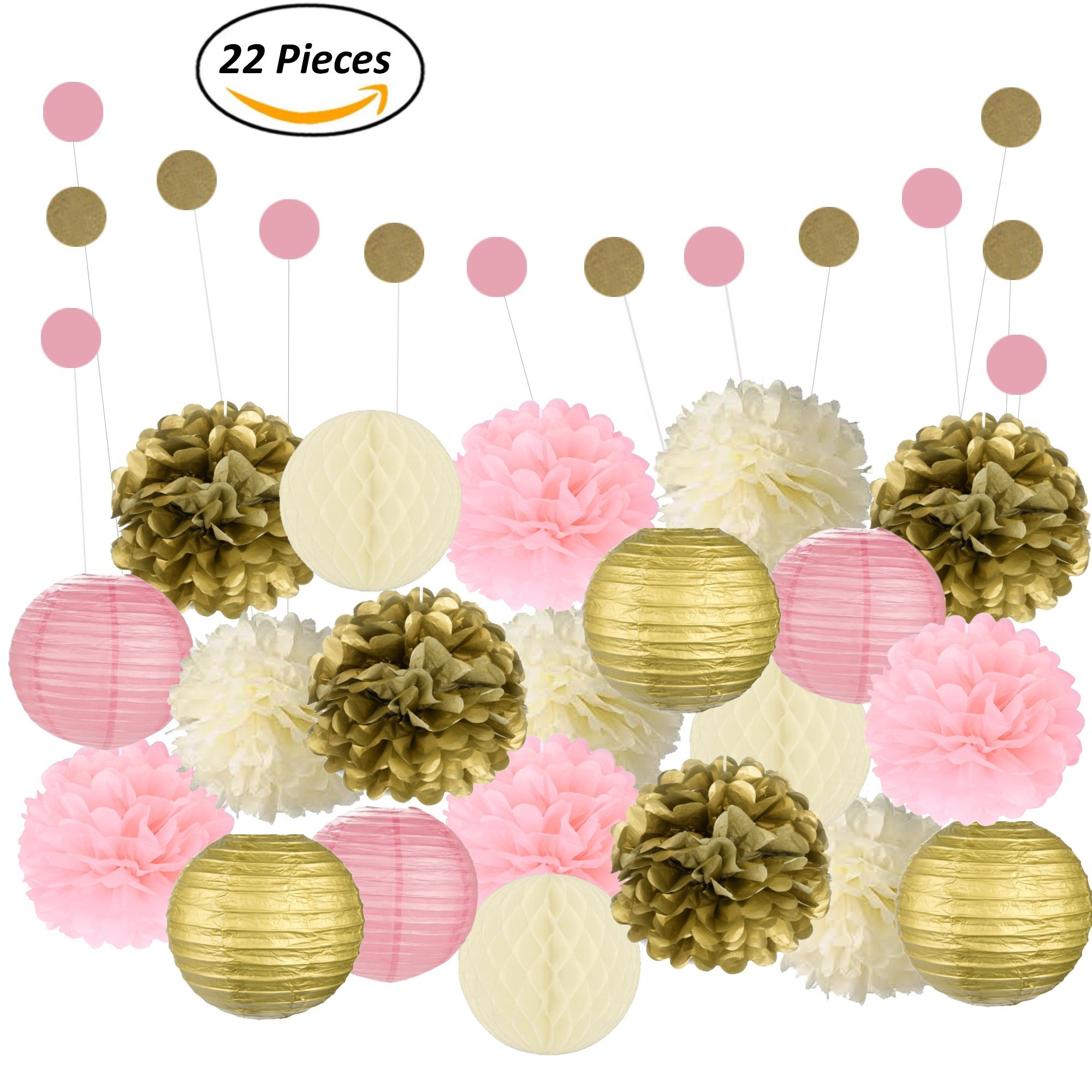 Adorable Mixed Pink, Gold & Ivory Party Decorations By Epique Occasions – Set Of Hanging Tissue Paper Flower Pom Poms, Lanterns & Honeycomb Balls For Birthday, Wedding & Party Décor-22 Pcs & String by Epique Occasions
