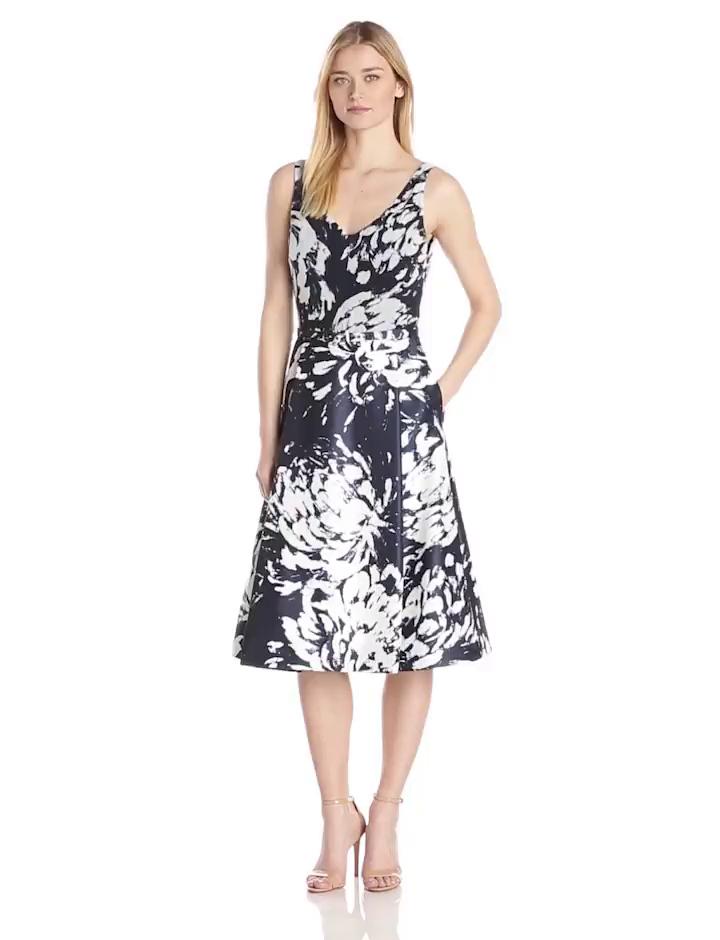 Taylor Dresses Women's Sleeveless Floral Print Dress, Navy/White, 8