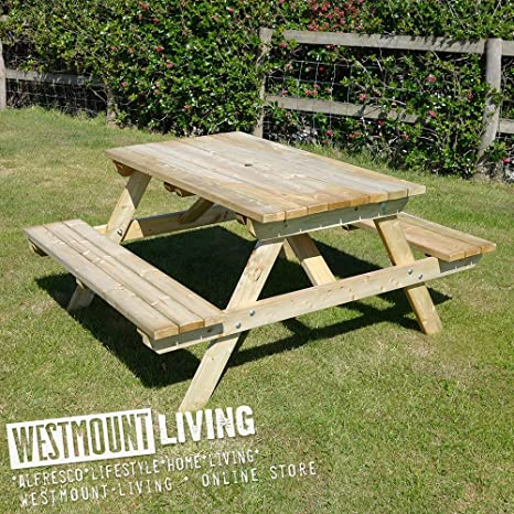 Astonishing Wooden Pub Picnic Bench 5Ft 6 Seater Wooden Pressure Treated Wood Table By Westmount Living Spiritservingveterans Wood Chair Design Ideas Spiritservingveteransorg