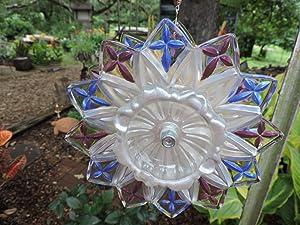 Hand Painted Glass Flower Spinner (#74)- An original concept - - Suncatcher - Yard Art - Recycled Glass Garden Art - Wind Spinner - Free-Spirit Decor