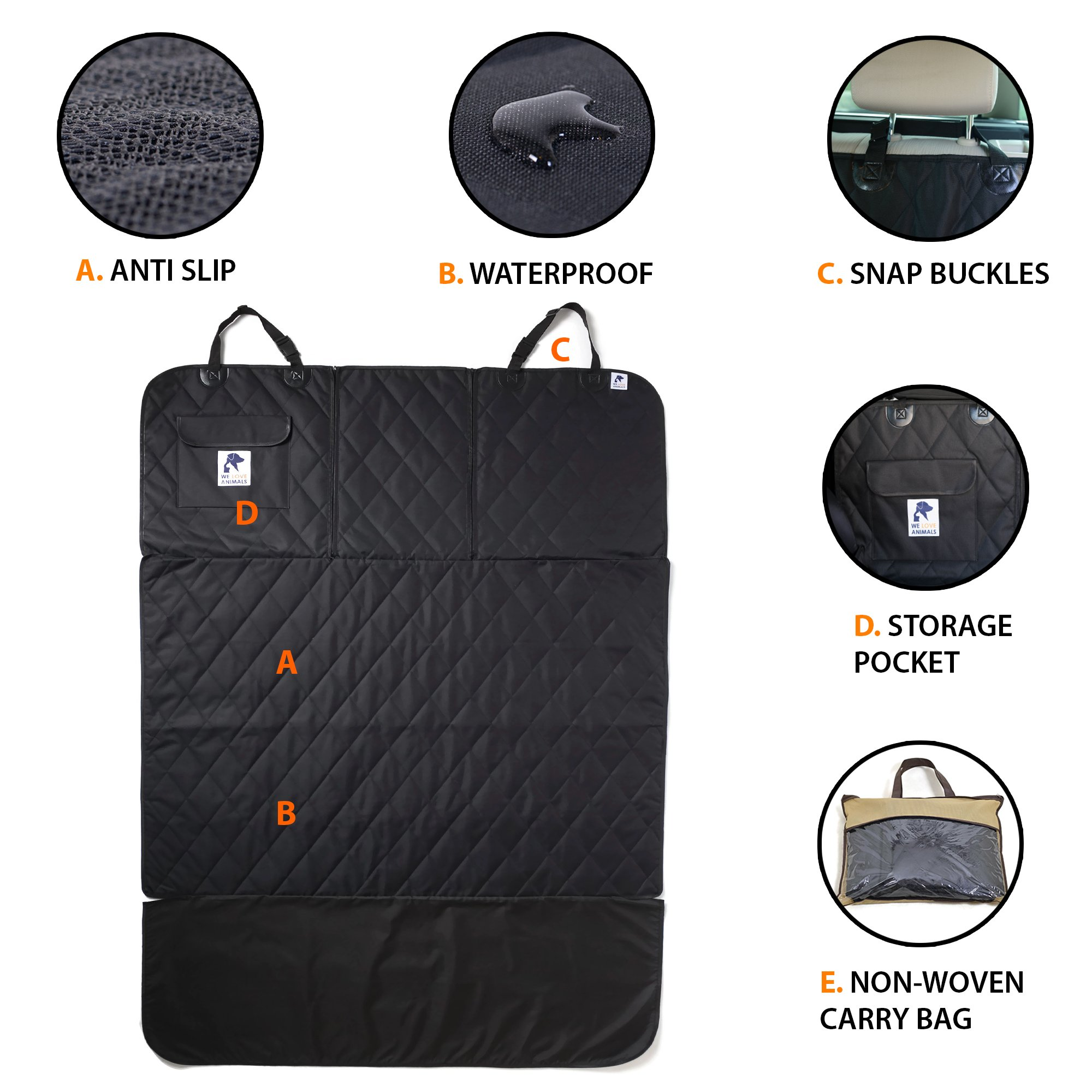 Dog Cargo Liner for SUV, Van, Truck & Jeep - Waterproof, Machine Washable, Nonslip Pet Seat Cover with Bumper Flap will keep your vehicle as clean as ever - XL, Universal Fit - BONUS Carry Bag by WE LOVE ANIMALS (Image #3)