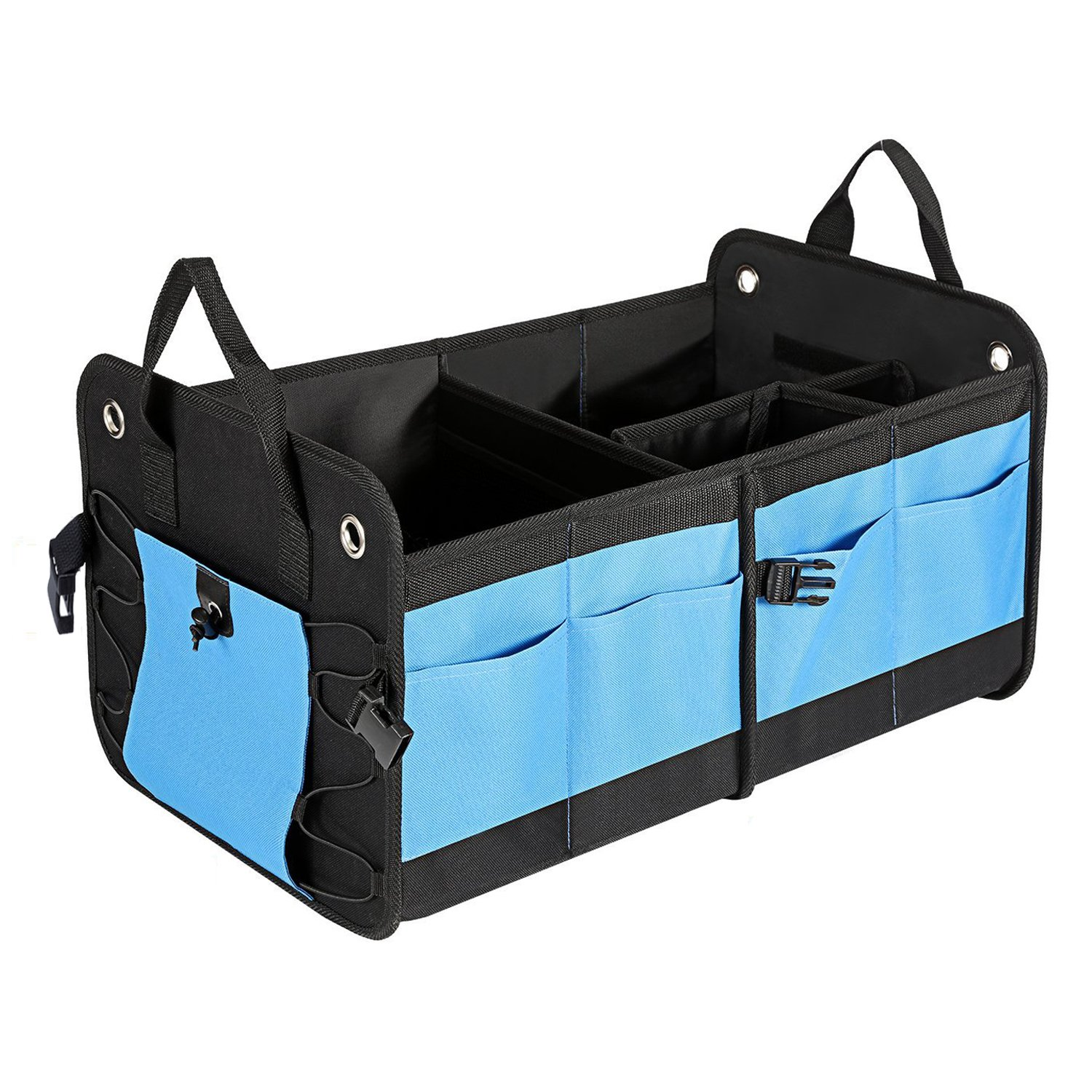 MaidMAX Trunk Organizer for SUV, Anti-Slip Straps, Adjustable Compartments and Side Pockets, Foldable, Black and Blue 903047