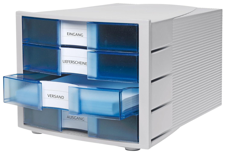 inkl Beschriftungsschilder geschlossenen Schubladen f/ür DIN A4//C4 Stapelbare Sortierablage mit 4 gro/ßen HAN Schubladenbox IMPULS 1010-X-11 in Lichtgrau