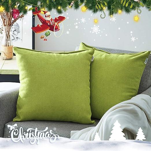 Topfinel juego 2 Fundas cojines sofas de Algodón Lino duradero Almohadas Decorativa de color sólido Para Sala de Estar, sofás, camas, sillas 60x60cm ...