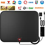 GESOBYTE Amplified HD Digital TV Antenna Long 200+ Miles Range - Support 4K 1080p Fire tv Stick and All Older TV's - Indoor S