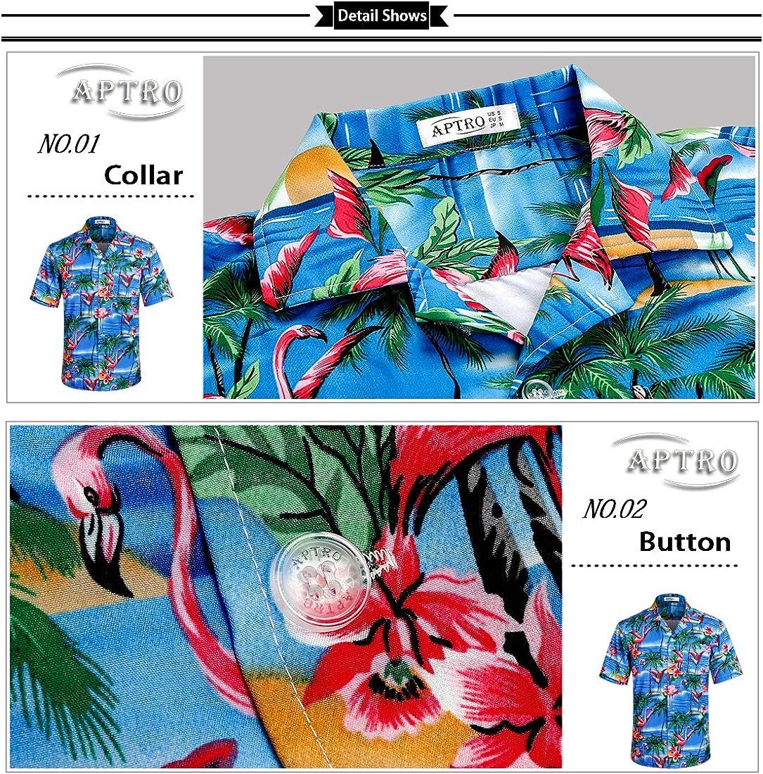 APTRO Mens Hawaiian Shirt Short Sleeve Beach Aloha Party Shirt