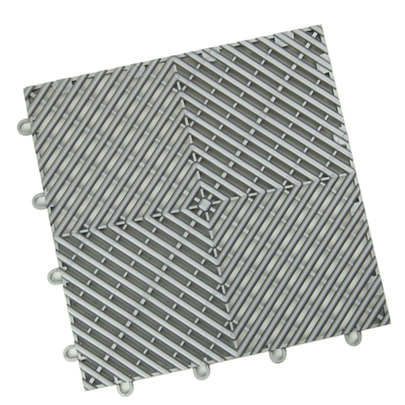 24 Pack, Shelby Blue IncStores Diamond Grid-Loc Garage Flooring Snap Together Mat Drainage Tiles
