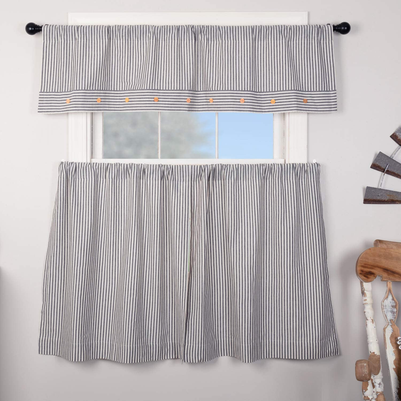 24 L x 36 W Set of 2 Piper Classics Farmhouse Ticking Stripe Blue Tiers Cafe Curtains