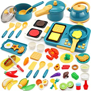 68PCS Kids Pretend Play Kitchen Toys Playset Accessories Set, Toy Pots and Pans Cooking Sets, Electronic Induction Cooktop w/ Cutting Play Food Dishes Utensils Gift for Girls Boys Kids Toddlers
