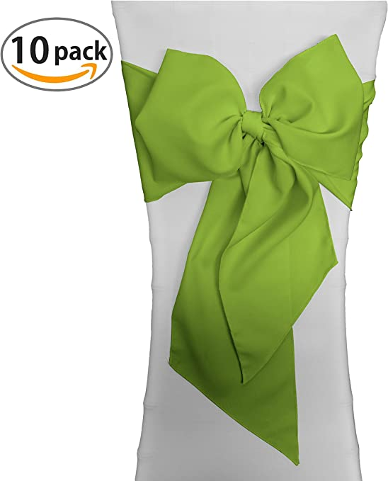 LA Linen Polyester Poplin Chair Bow Sashes, 7 by 108-Inch, Lime, 10-Pack