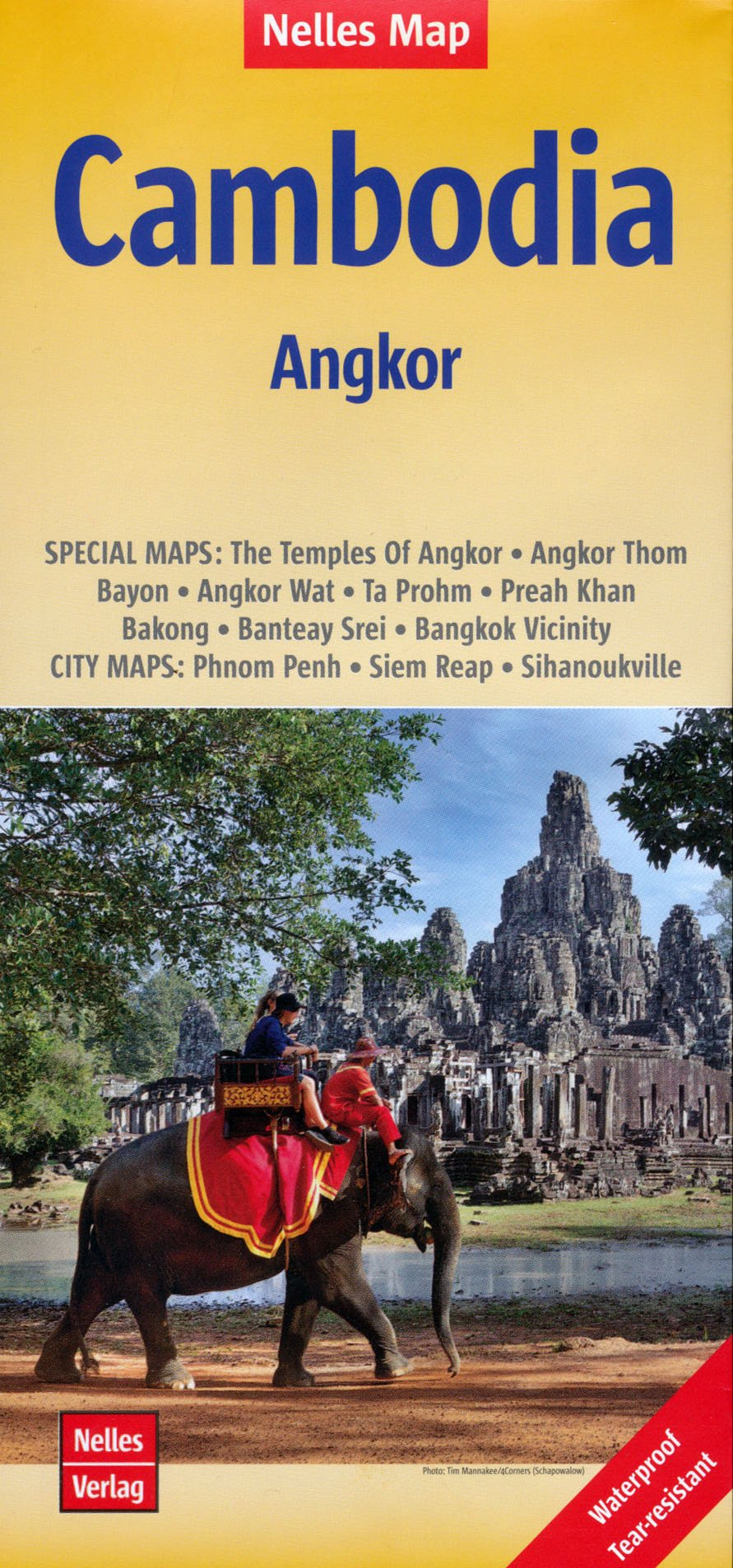 Cambodia 1:1,500,000 Travel Map & Angkor details, waterproof NELLES