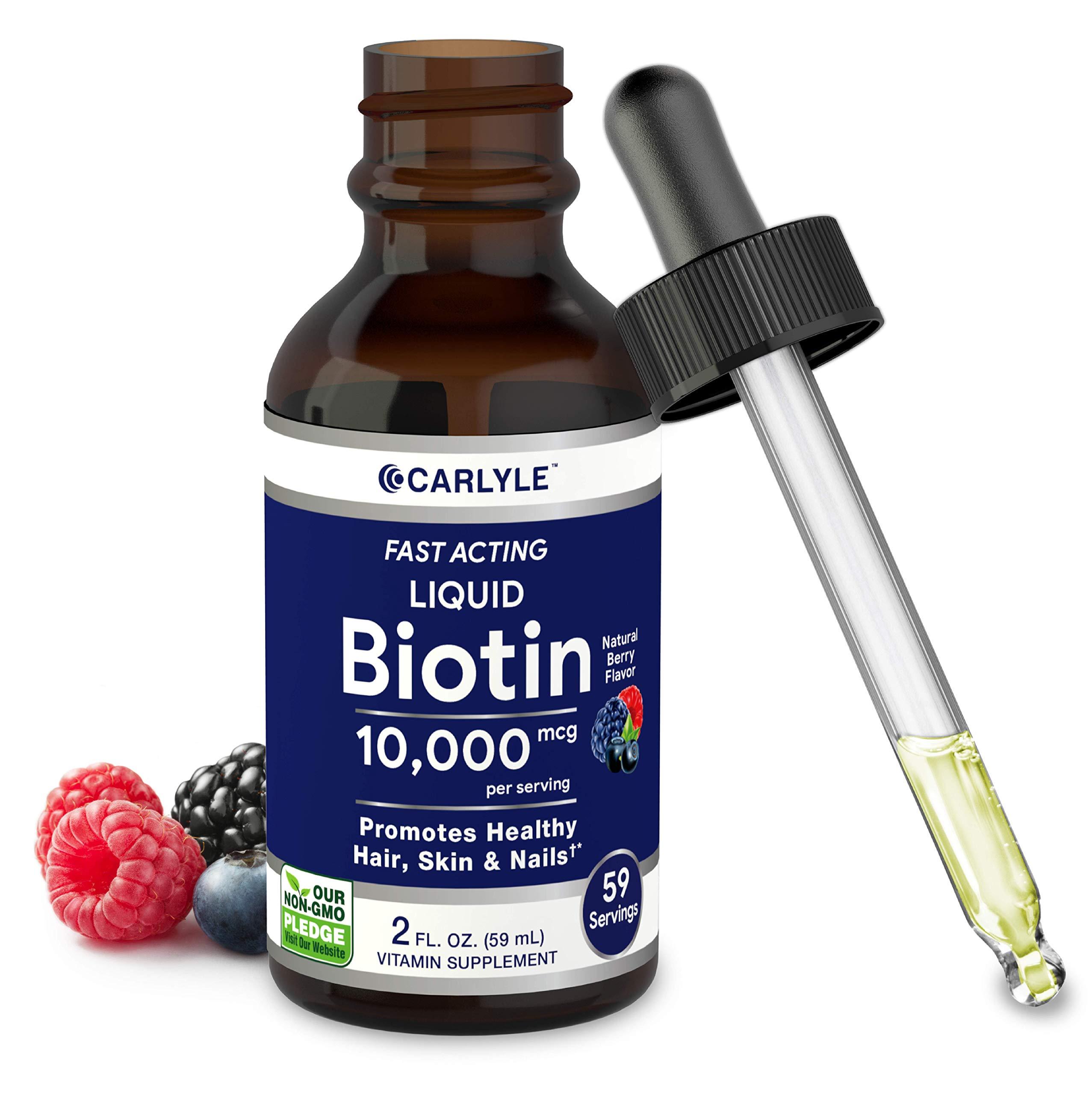 Liquid Biotin 10000mcg Extra Strength Gel Drops | 2 oz | Vegetarian, Non-GMO, Gluten Free Supplement | by Carlyle