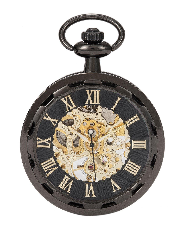 SwitchMe Men Women Skeleton Hand Winding Mechanical Watch Steampunk Open Face Pocket Watch Black