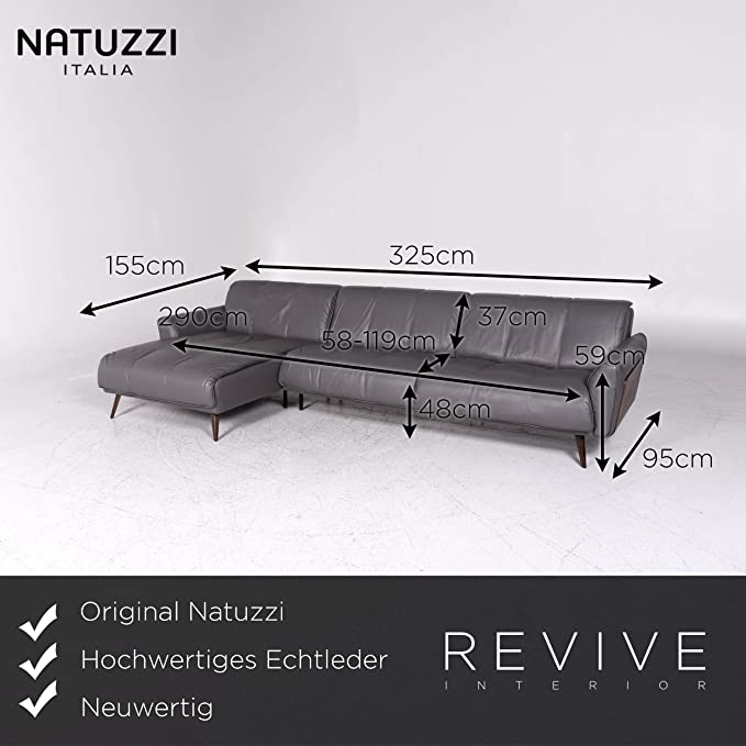 Amazon.com: Natuzzi Designer Leather Corner Sofa Gray Sofa ...
