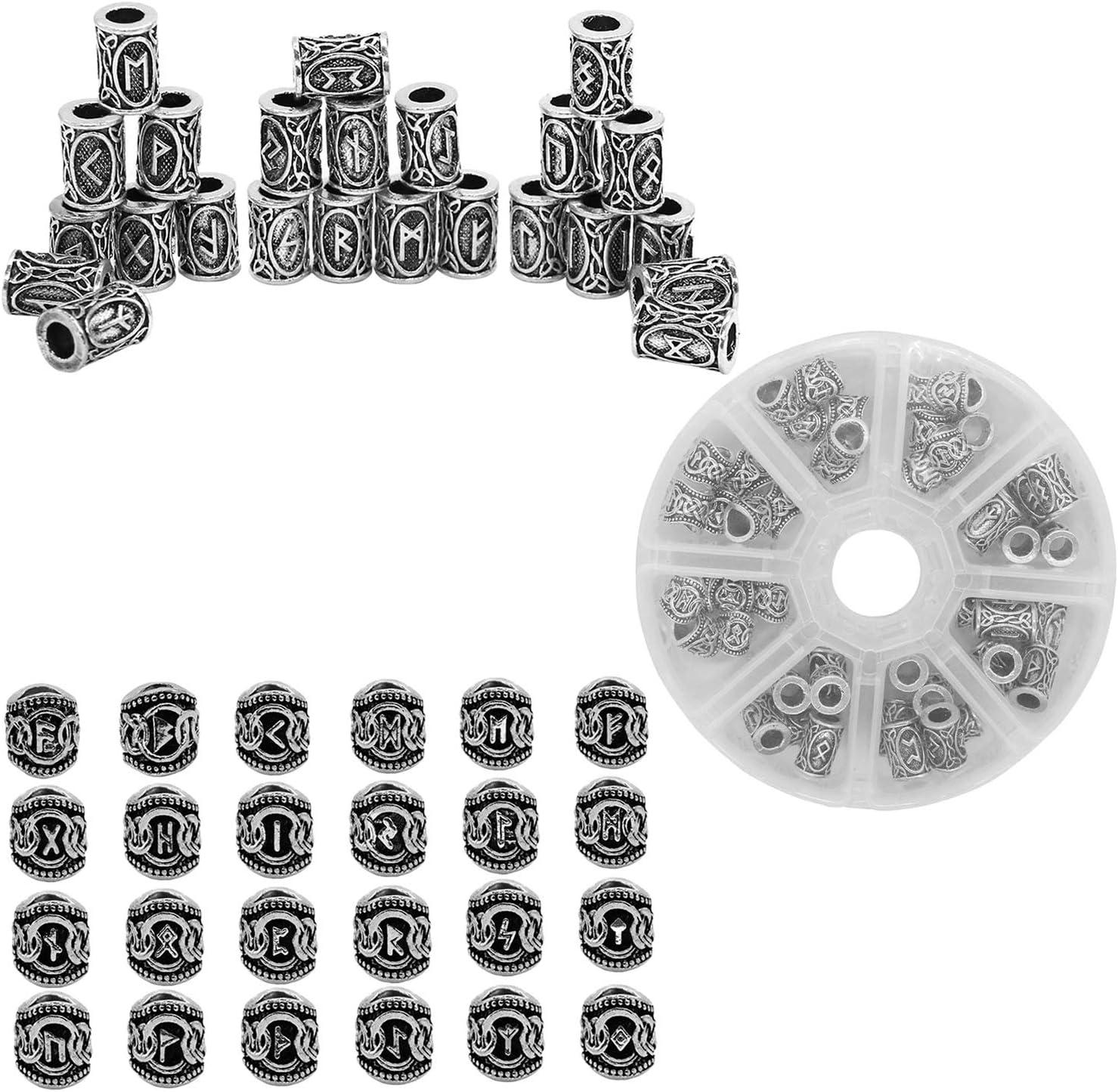B Baosity Set de 48 cuentas de vikingo de plata, perlas de tubo nórdico para rastas, peinados, colas de caballo, peinados de boda