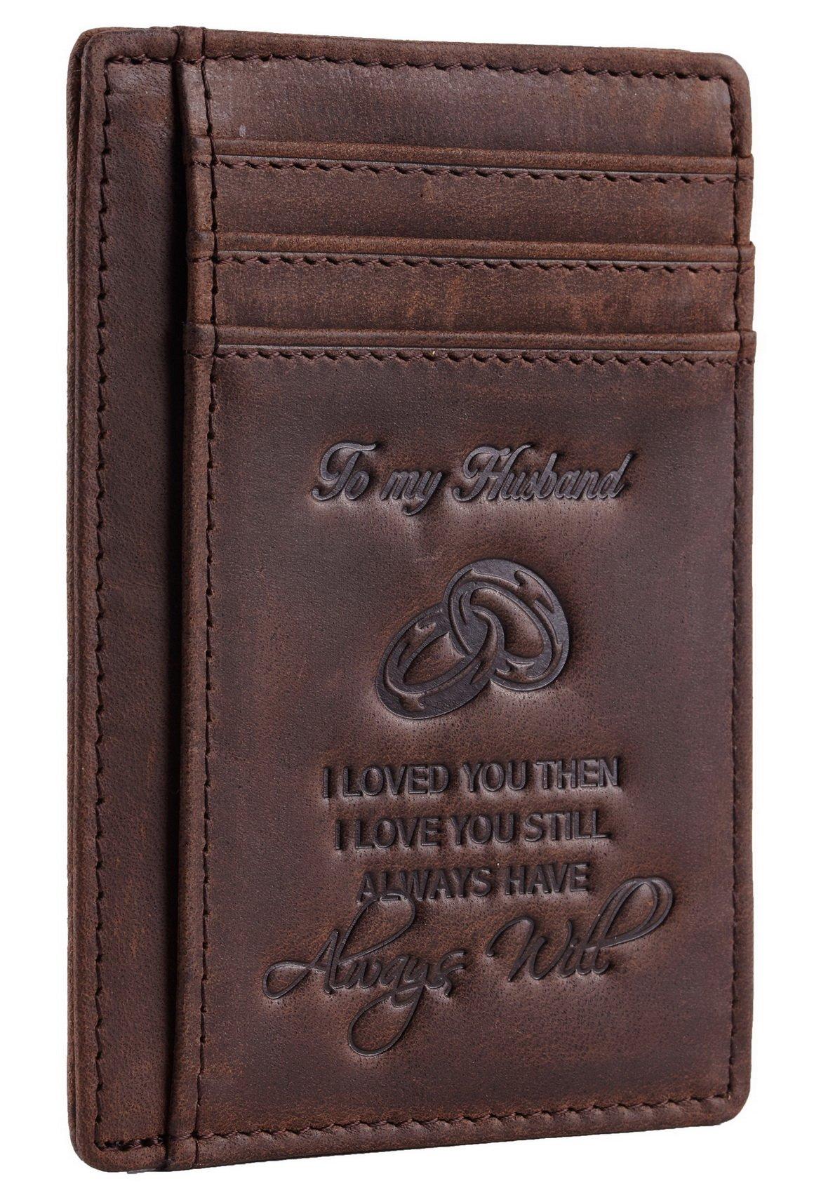 NapaWalli Wife To Husband Gift Best Anniversary Birthday Gifts For Him Genuine Leather RFID Blocking slim Wallet Card Holder (Hunter Coffee) by NapaWalli (Image #3)