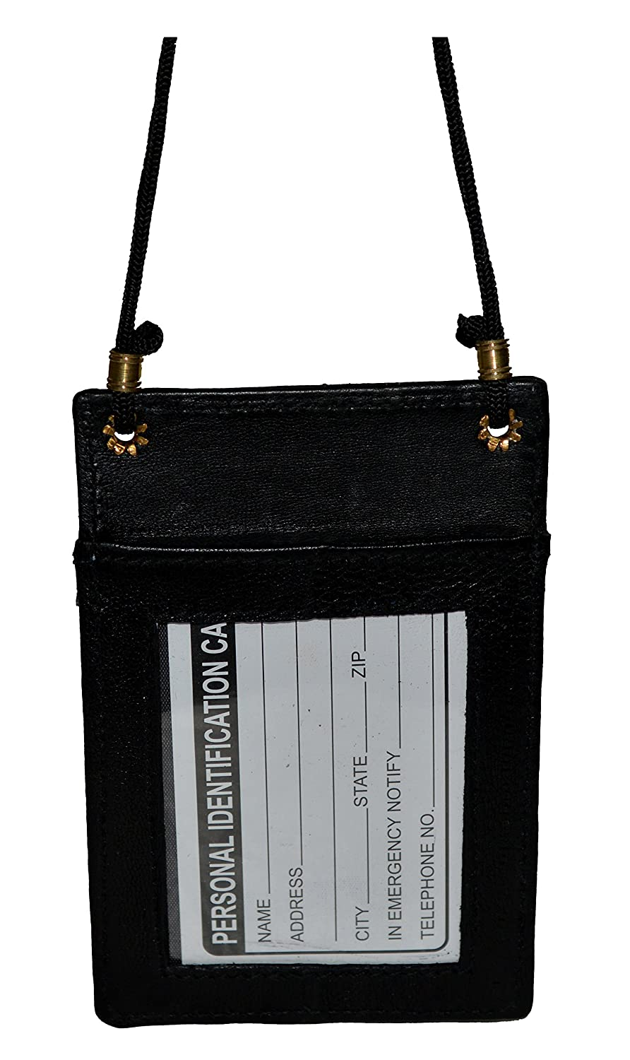 Amazon.com : Mw561rbk Black Leather Id and Business Card Holder Neck ...