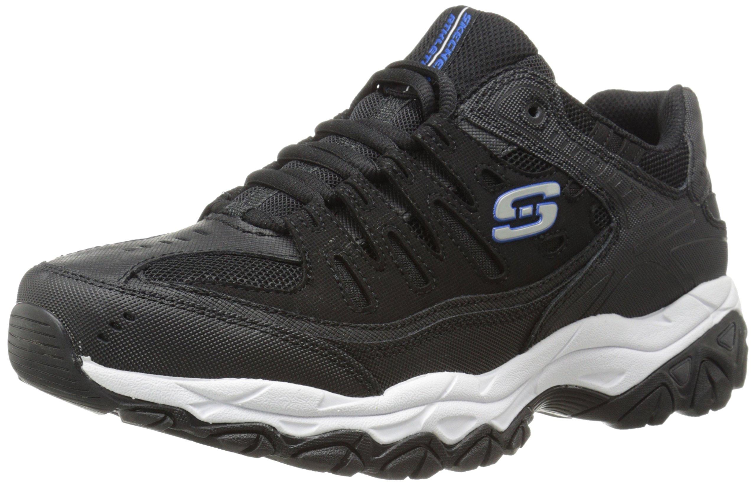Skechers Sport Men's Afterburn Memory Foam Lace-Up Sneaker, Black/Royal, 11.5 M US by Skechers