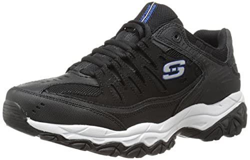 Skechers Sport Men's Afterburn Memory Foam Lace-Up Sneaker, Black/Royal, 10.5 4E US