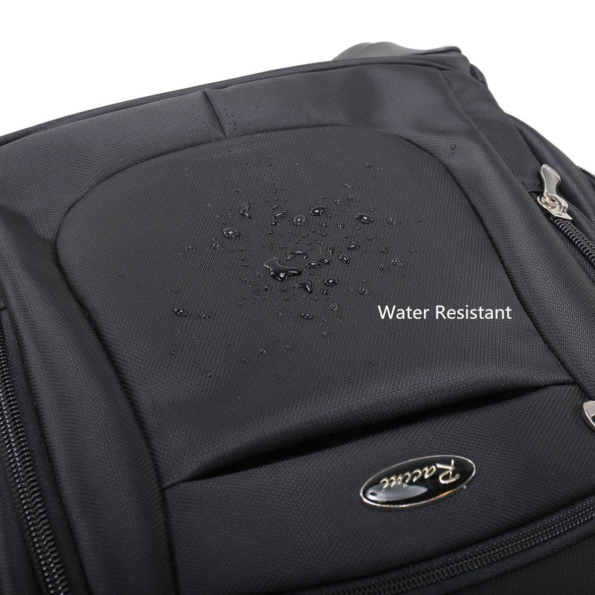 Racini Nylon Waterproof Rolling Backpack, Freewheel Travel School Wheeled Backpack, Carry-on Luggage with Anti-theft Zippers (Black) by Racini (Image #6)