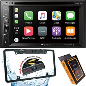 "Pioneer AVH-1500NEX Double Din Apple Carplay In-Dash DVD/CD/Am/FM Car Stereo Receiver W/ 6.2"" Touchscreen + License Plate Backup Camera Included + Phone Magnet Holder"