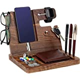 Gifts for Men - Ebony Wood Phone Docking Station - Nightstand with Key Holder, Wallet Stand and Watch Organizer - Perfect Gifts to Boyfriend Husband Wife Dad for Anniversary Birthday Christmas