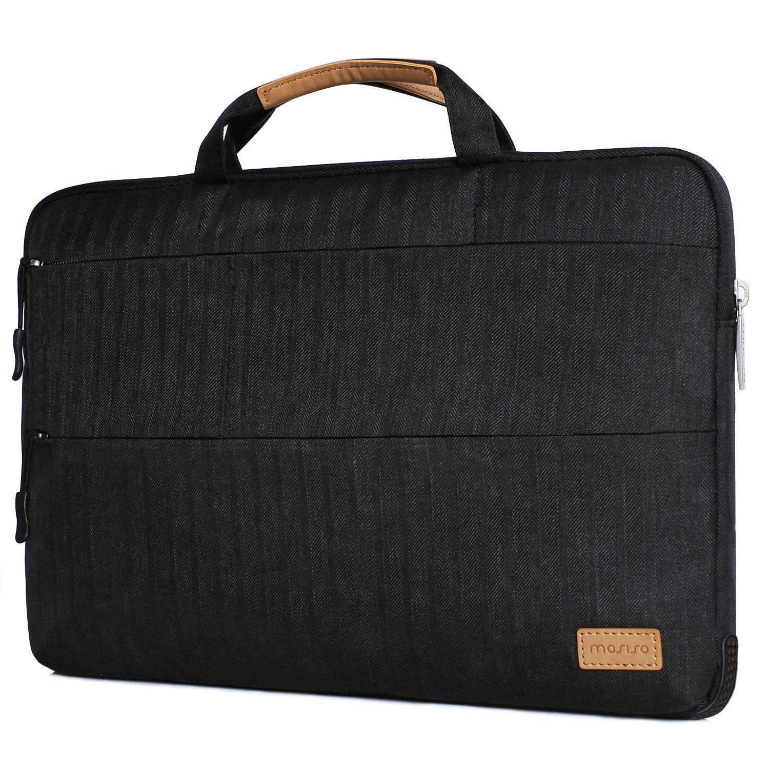 MOSISO Laptop Briefcase Bag Compatible 13-13.3 Inch MacBook Pro, MacBook Air, Notebook with Triangle Stand Holder, Shock Absorption Rubber Silicone Bumper Cushion Corner Polyester Sleeve Case, Black