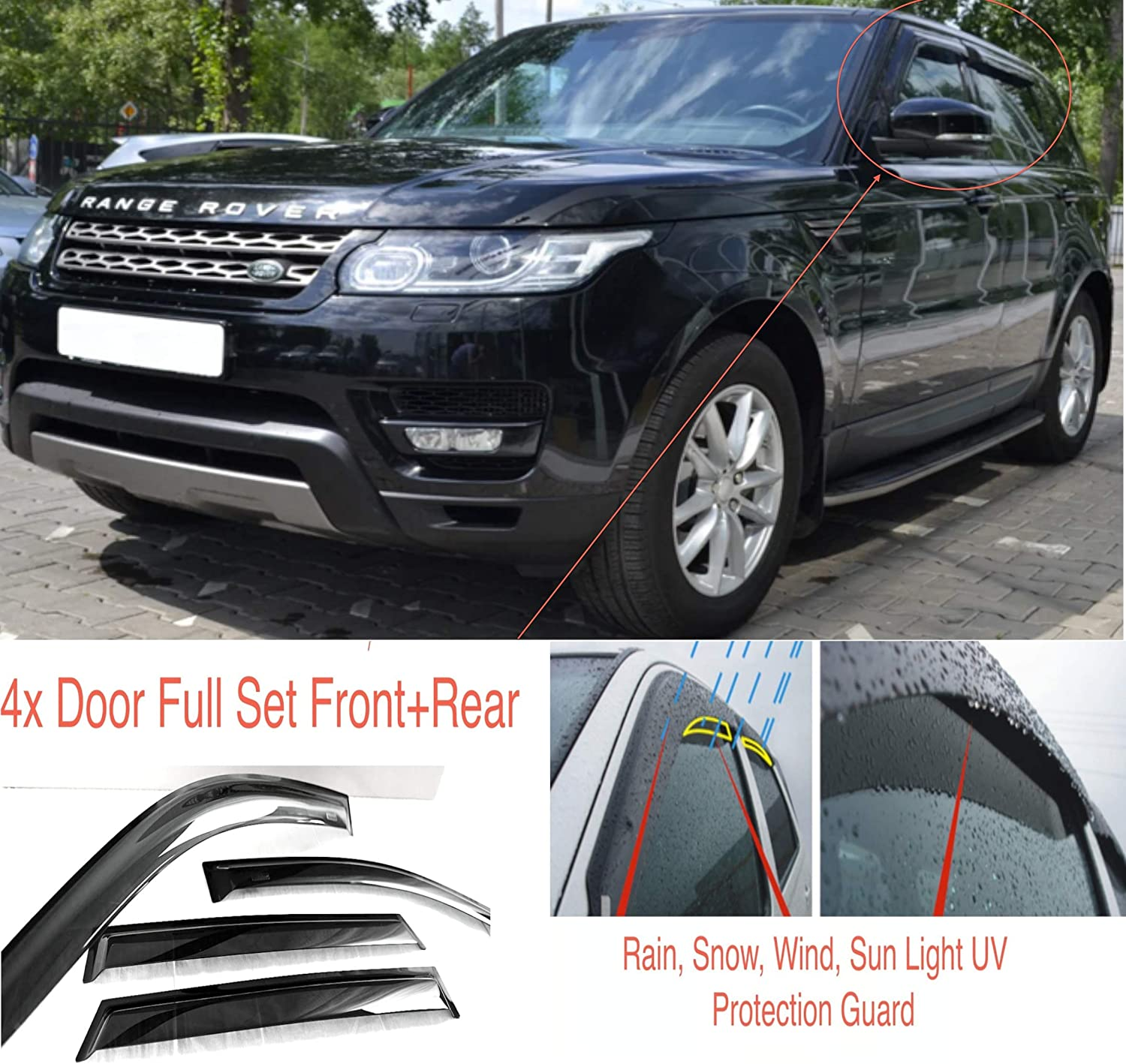 Ac Wow 4 Wind Deflectors Compatible With Range Rover Sport L494 2013 2014 2015 2016 2017 2018 2019 2020 And More Acrylic Glass Weather Protection Visors Auto