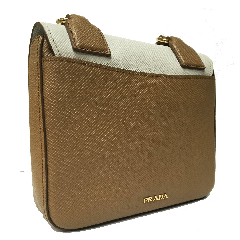 3195d0450fbe90 Prada Saffiano Cuir Pattina Caramel Beige & Talco White Leather Shoulder Bag  BT1015: Handbags: Amazon.com