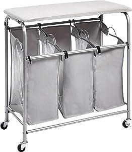 AmazonBasics 3-Bag Laundry Sorter with Ironing Board Top