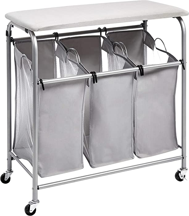 AmazonBasics 3-Bag Laundry Sorter with Ironing Board Top