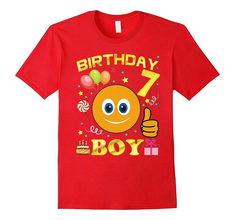 7th birthday boy cute emoji T-shirt Gift for birthday-BN