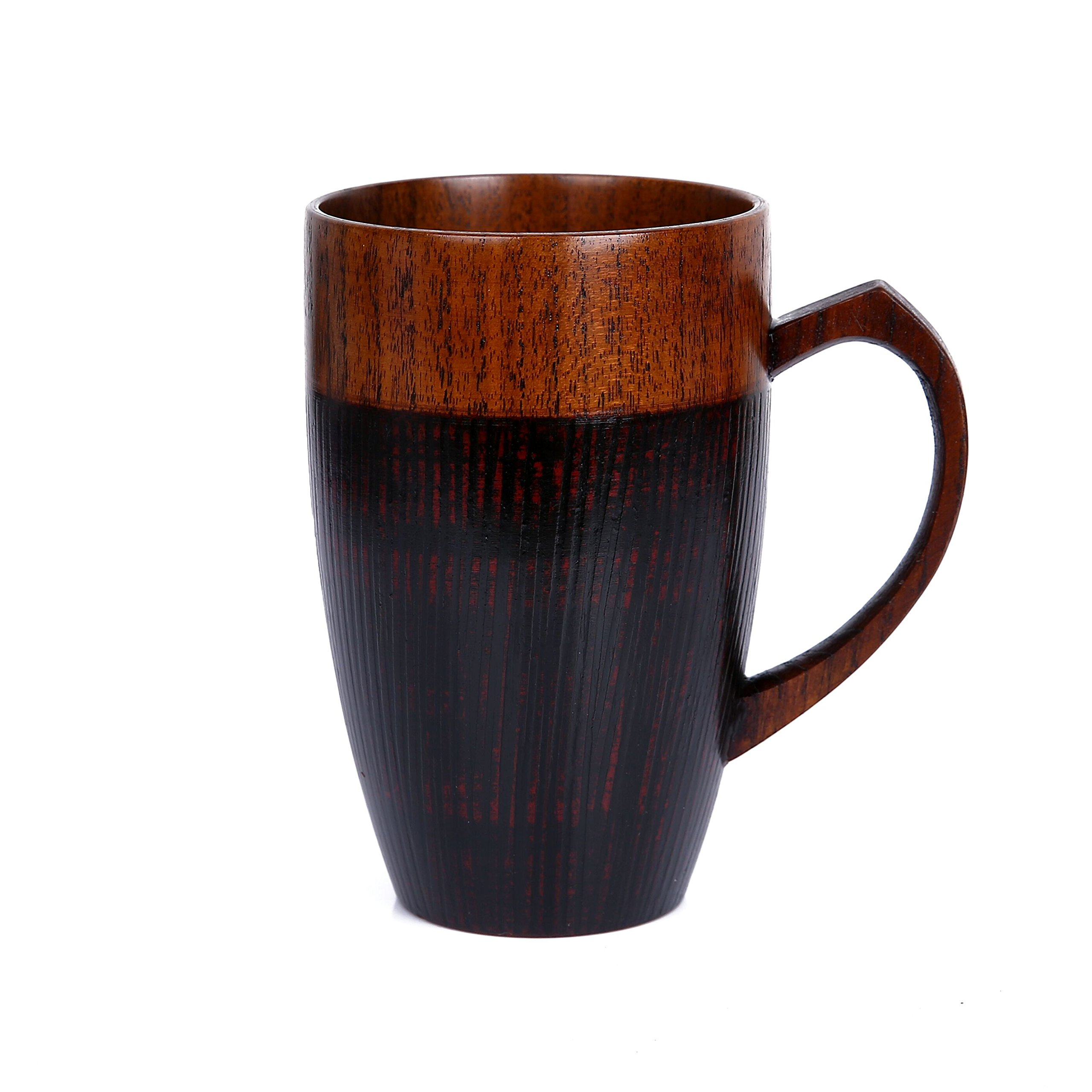 WOOD MEETS COLOR Mug Cup Handmade Wood with Heart Handle(Black 10 OZ)