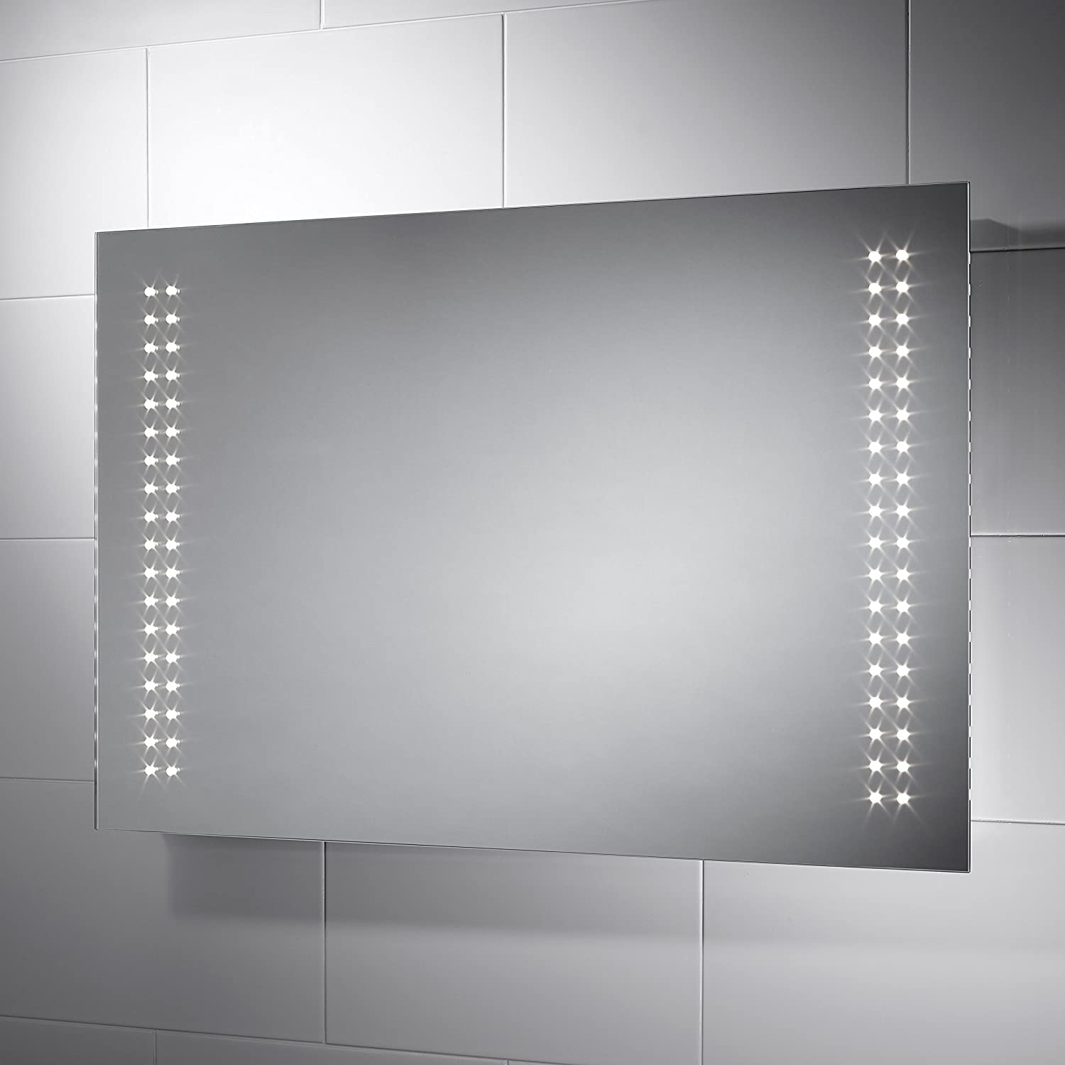Pebble Grey Rectangular Sorrento LED Illuminated Bathroom Mirror With Lights Size 900mmW X 600mmH Infra Red Sensor Switch Dual Voltage Shaver