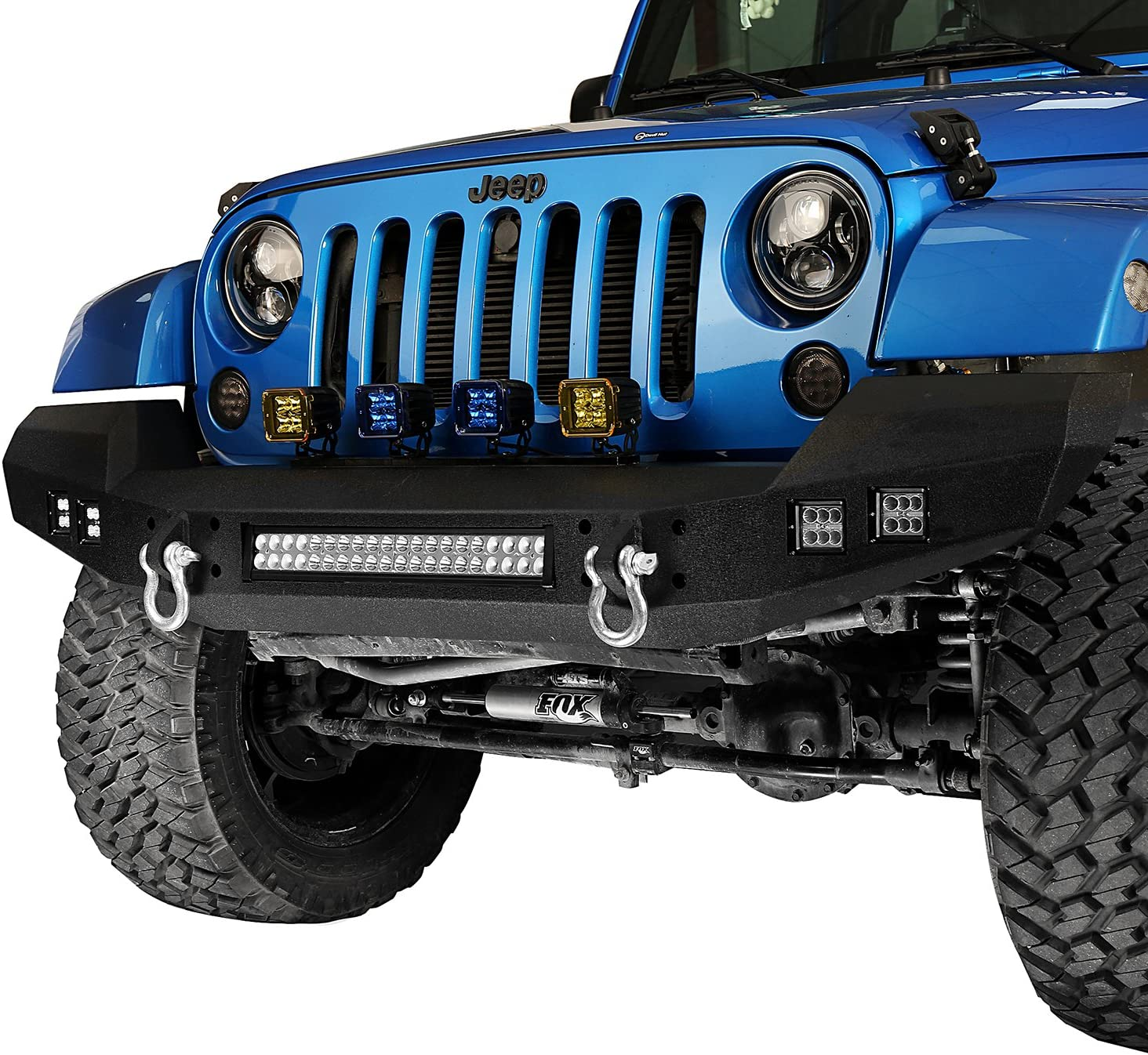 Amazon Com Hooke Road Climber Bumper Full Width Front Bumper W D Rings Led Lights Compatible With Jeep Wrangler Jk Unlimited 2007 2018 Automotive