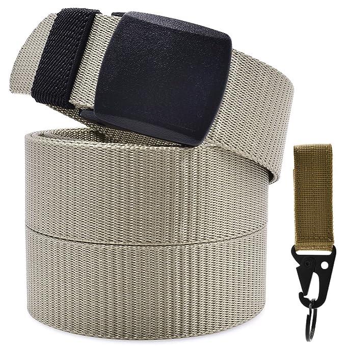 Cinturón Nylon Hombre Militar Táctico Policia Beige Unisex Cinturónes Llaveros Ocasional Correa Hombres Lona Tela Velcro