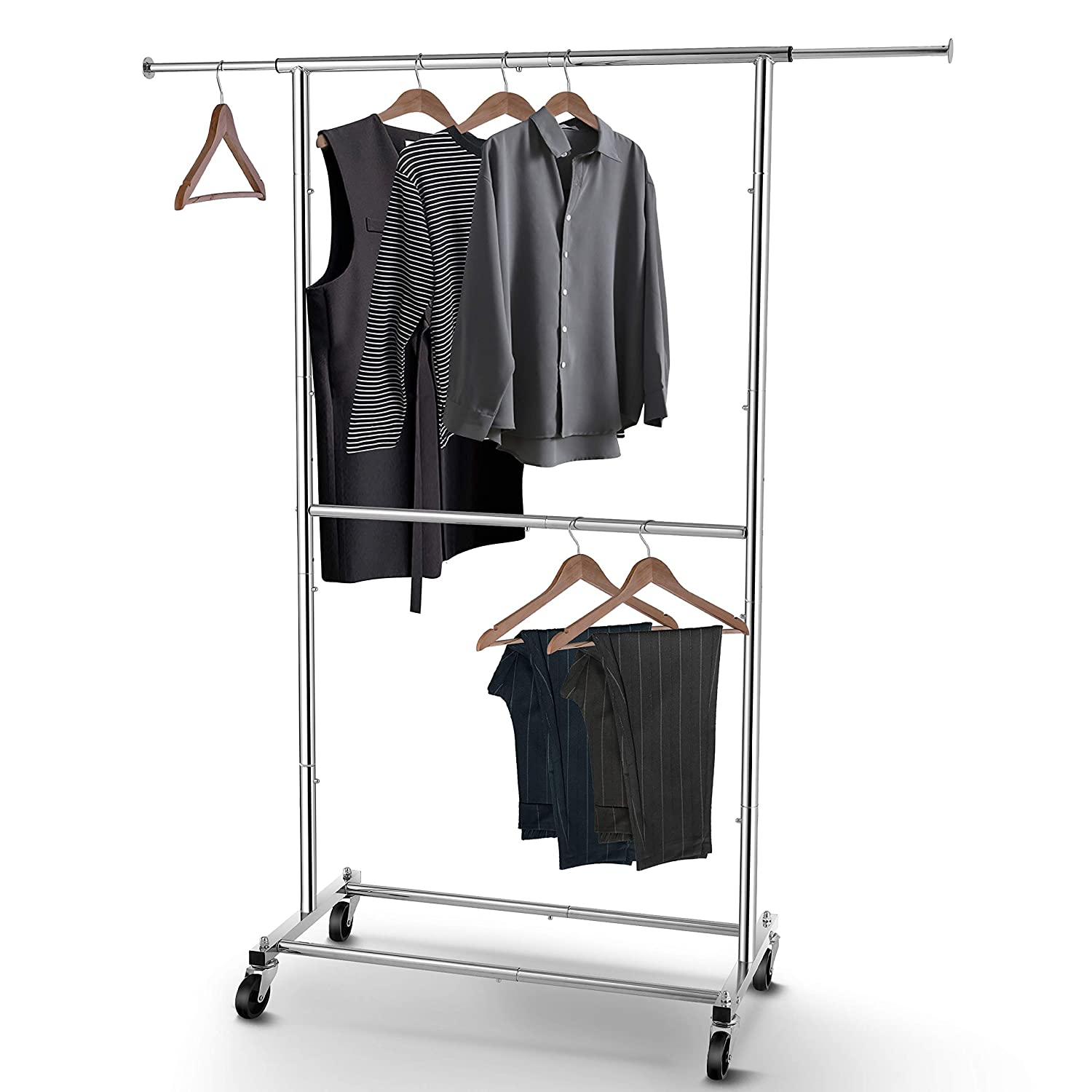 Simple Trending Double Rod Clothing Garment Rack, Rolling Clothes Organizer on Wheels for Hanging Clothes, Chrome