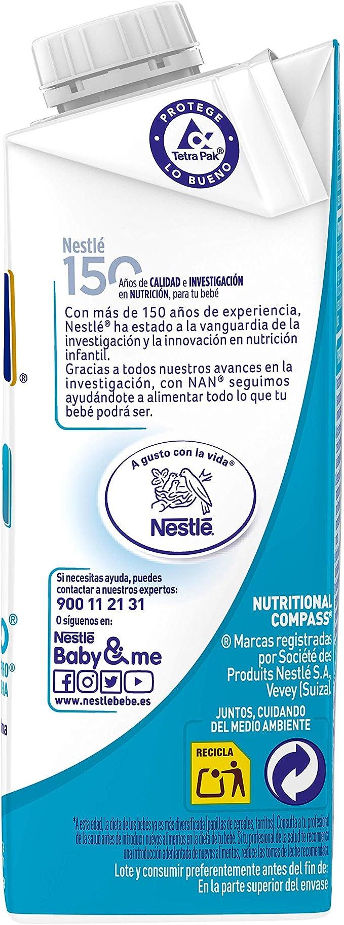 NAN Optipro 1, Leche de crecimiento para bebé - 6 de 200 ml. (Total 1200 ml.)