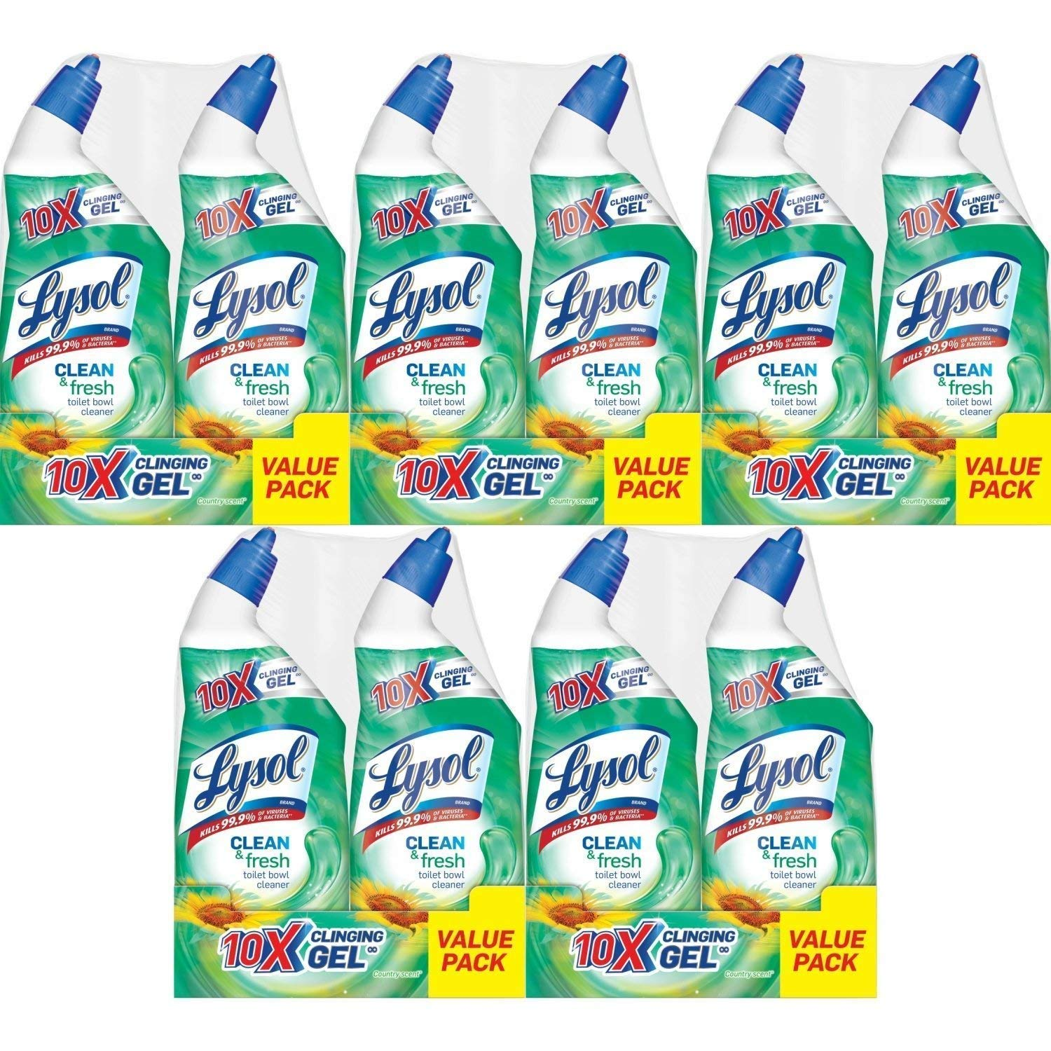 Lysol Power & Fresh Cling Toilet Bowl Cleaner Value Pack, Country Scent, 240 Ounce, Count of 10